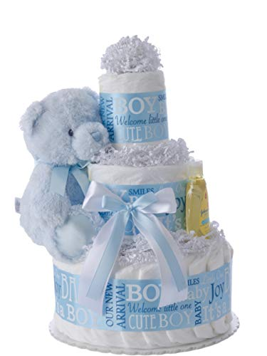 Baby Boy 3 Tier Diaper Cake - Beautiful Baby Gift for Boys with Usable Pamper Swaddler Diapers (Size 1) - Designed by Lil' Baby Cakes (10 inches Wide x 12 inches Tall)