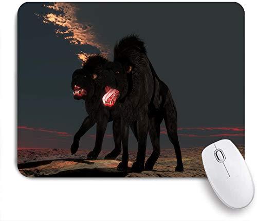 Dekoratives Gaming-Mauspad,Übernatürliche Kreaturen der Folklore und Legende Der Höllenhund ist ein Hüter der Hölle mit leuchtend roten Augen,Bürocomputer-Mausmatte mit rutschfester Gummibasis