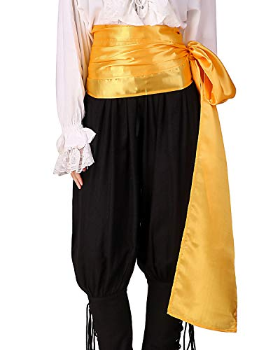 ThePirateDressing Pirate Medieval Renaissance Halloween Cosplay Costume Satin Large Sash (Gold)