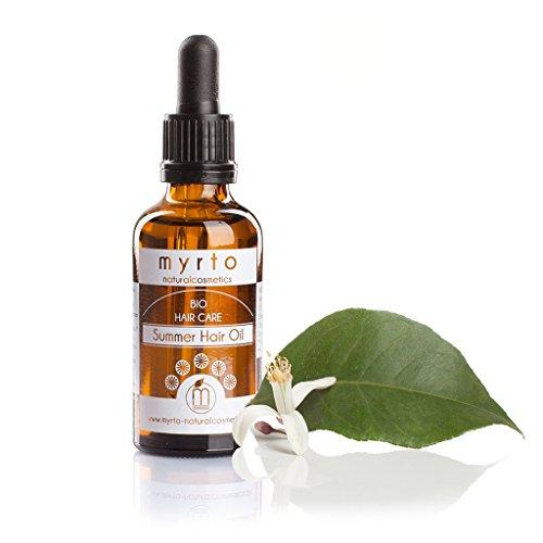 myrto – Bio Summer Hair Oil | Repair Haaröl mit natürlichem Sonnenschutz -kaltgepresste Pflanzenöle - Haarkur gegen Spliss und Haarbruch - Braunglas - 50 ml