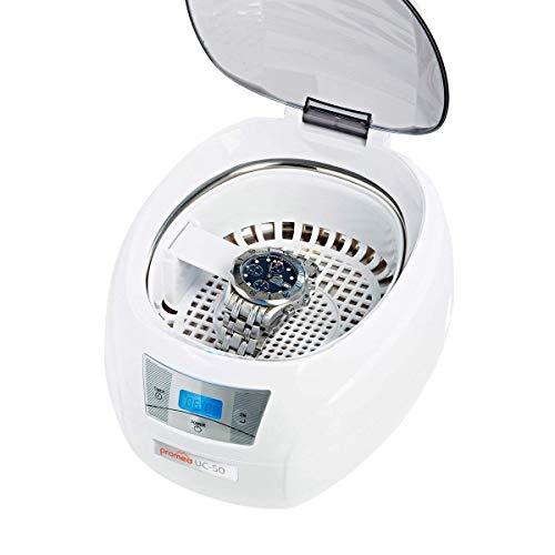 PROMED Ultraschallreinigungsgerät UC-50, Ultraschallreiniger für Schmuck Uhr Zahnersatz und Brille, 550ml Ultraschallgerät für zuhause, Ultraschallbad 5-Stufen-Timing 43000 Hz