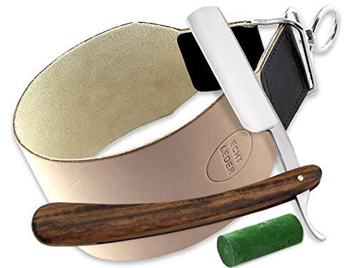 Solingen Schärf Paste im Rasiermesser Set mit extra breitem Leder Streichriemen und Holz Griff Rasiermesser von InstrumenteNRW Deutschland
