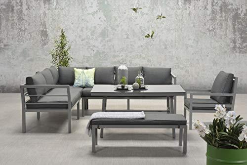 Garden Impressions - Conjunto de muebles de jardín de aluminio (tamaño XL, incluye sillón adicional), color antracita