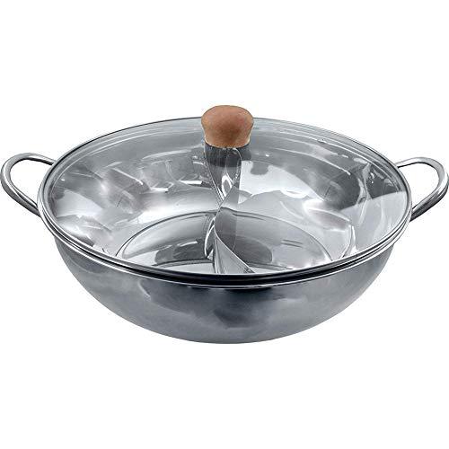 LCZ Topf/Topf [Edelstahl Heißwassertank Mit Einem Glasdeckel] Mit Einer Kleinen Kammer/Heißen Topf Becken Verdickten Haushalt Ente,Silber,34cm