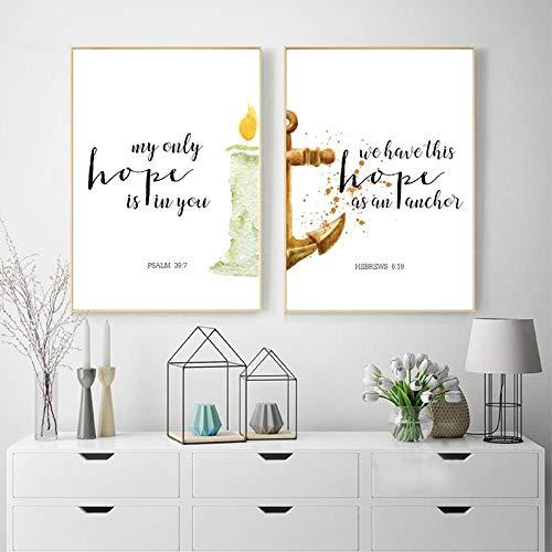 OCRTN Bibelverse Hoffnung Zitate Leinwand Poster Drucken Schrift Christliche Wandkunst Gemälde Aquarell Bilder Wohnzimmer Wohnkultur / 40x60cmx2Pcs-Kein Rahmen