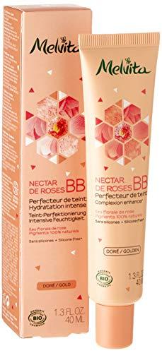 Melvita - BB crème dorée certifiée bio Nectar de Roses - Hydrate et unifie le teint - Couvrance naturelle - Sans silicone - Certifié bio, naturelle à 99% - Tube 40ml