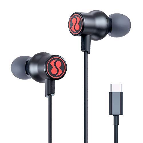 USB C Headphones SUMWE Hi-Fi Immersive Bass Sound Metal Earphones in-Ear Noise Cancelling Type C Earbuds w/Mic for Samsung Galaxy S21/S20/Note10, Google Pixel 5/4/3/2, iPad Pro