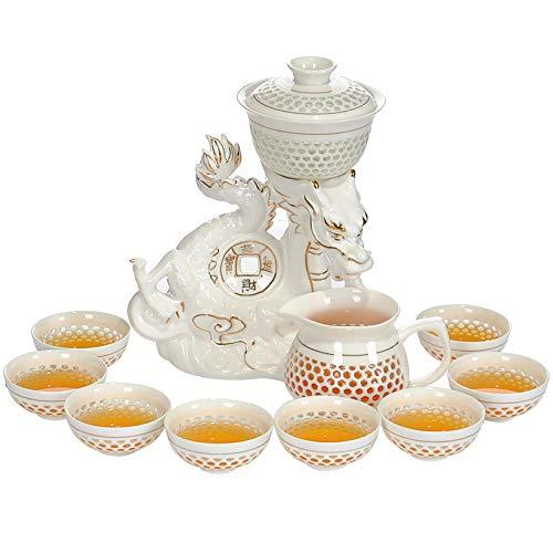 Copa De Vino Taza De Café Taza[1 Teapot +1 Pedestal +1 Fair Cup +8 Cups] Automatic 11 Pcs Kung Fu Tea Set Dragon Zisha Ceramics/Porcel