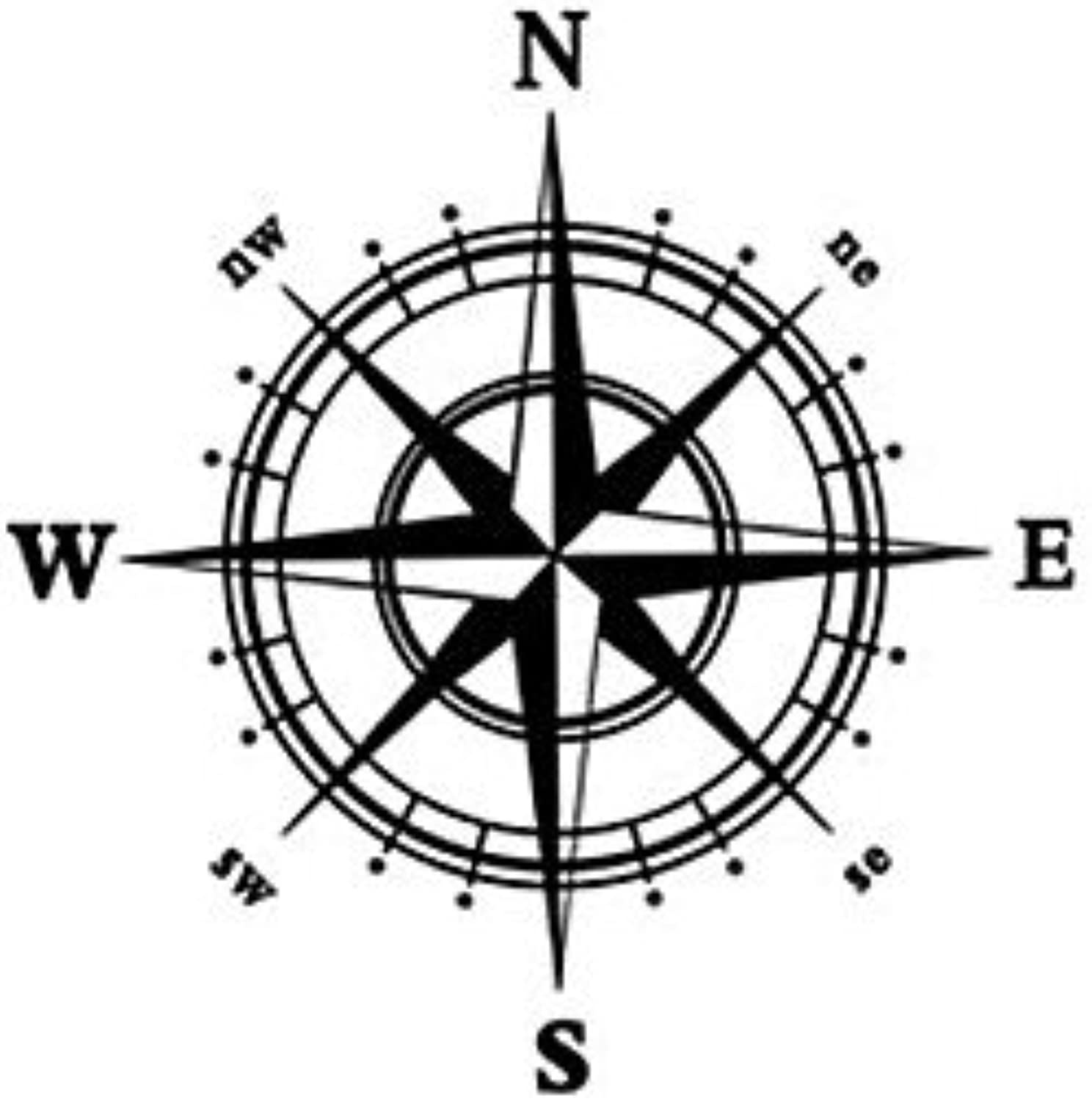 AMEA Compass Wall Decal Compass Wall Sticker Home Decor , white