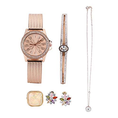 Conjunto de reloj para mujer, conjunto de joyas con pendientes de anillo, conjunto de joyas con pulsera, pendientes, collar, reloj, caja de regalo, Regalos románticos para cumpleaños niñas novias Madr