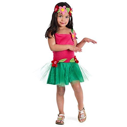 Elbenwald Hawaii Girl Lilo Kostüm Kinder 2-TLG Kleid mit Haarschmuck pink grün - 1 Jahr