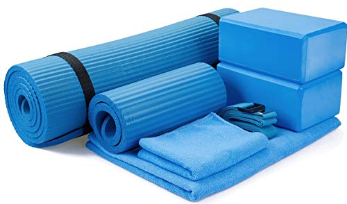 "BalanceFrom GoYoga 7-Piece Set - Include Yoga Mat with Carrying Strap, 2 Yoga Blocks, Yoga Mat Towel, Yoga Hand Towel, Yoga Strap and Yoga Knee Pad (Blue, 1/2""-Thick Mat)"