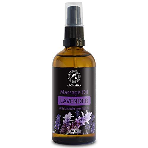 Huile Massage Lavande 100ml - 100% Pur & Naturel - Lavande Massage Oil pour Soulager le Stress - Bon Sommeil - Relax - Beauté - Bien-Être - Peau - Bouteille en Verre - Oil Massage