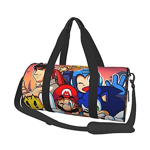 Super Smash Bros Smile Pretty Sonic Mega Man Mario Leisure Travel Bag Unisex Holdall Handbags Flight Fashion Gym Sports Training Shopping Shoulder Bags