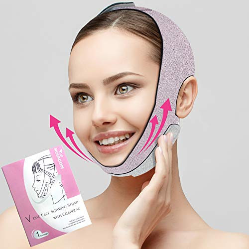 Updated Face Slimming Strap, Royacon Graphene Double Chin Reducer Strap, V line Face Lift Chin Strap for Women, Face Slimmer Belt for Firming and Tightening Skin