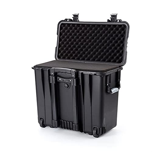 WEISHAN 19.5 Inch Safety Protection Case Pull Rod Suitcase Waterproof Impact Resistance Equipment Instrument Plastic Tool Box W/sponge (Color : Black, Size : 500x305x457mm)