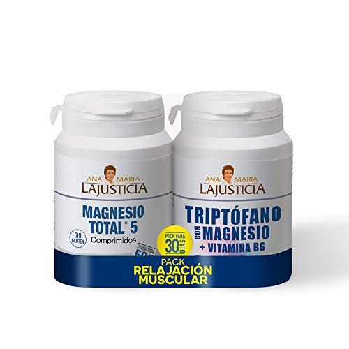 Pack RELAJACIÓN MUSCULAR - MAGNESIO TOTAL 5 - Disminuye el cansancio y la fatiga + Triptófano con magnesio + VIT B6 Reduce la ansiedad, el cansancio y regula el reloj interno.