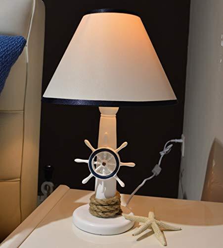 BJClight Classic 16,53 pulgadas Europa Resina Ancla Timón Lámpara de mesa Mesita de noche Luces Pastoral Mediterráneo Dormitorio encantador Lámpara de escritorio para niños-Interruptor de botón de tim