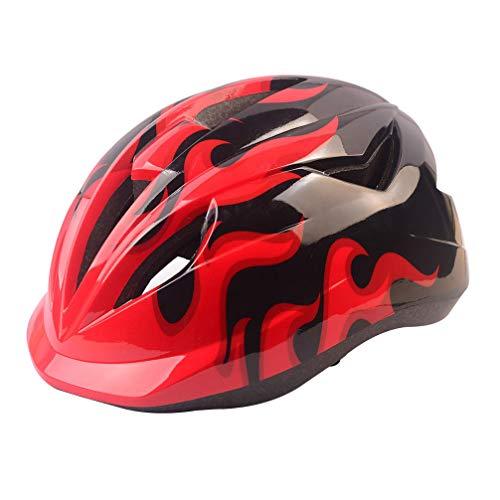 Wakauto Casco da Bicicletta Semplice Casco da Equitazione Outdoor Mountain Bike Skateboard Casco di Sicurezza Abbigliamento da Ciclismo per Bambini (Rosso Circonferenza della Testa 50-54 Cm)
