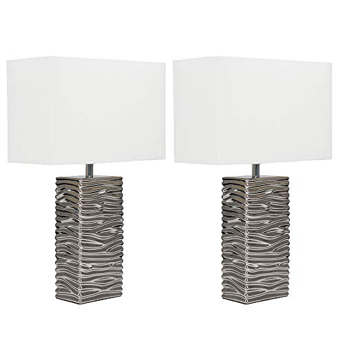 Pair of - Modern Silver Ripple Effect Ceramic Table Lamp with a White Light Shade