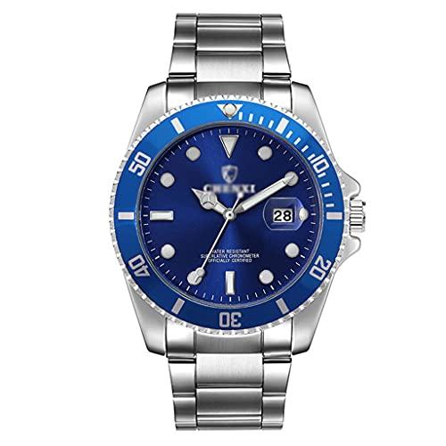 Gnaixyc Reloj De Pulsera para Hombre, Reloj De Negocios Informal con Esfera De Acero Inoxidable Impermeable,Azul