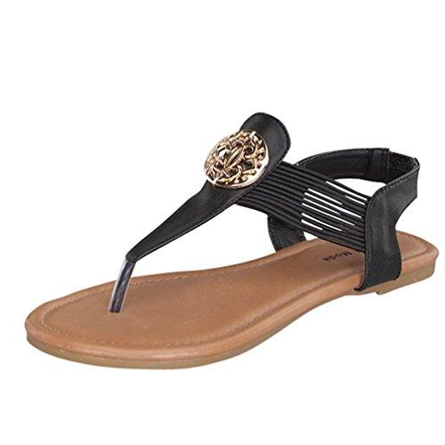 Lucky Top Girls Candy-43 Flat Sandal Thongs T-Strap Easy Slip On Elastic Band (11, Black)