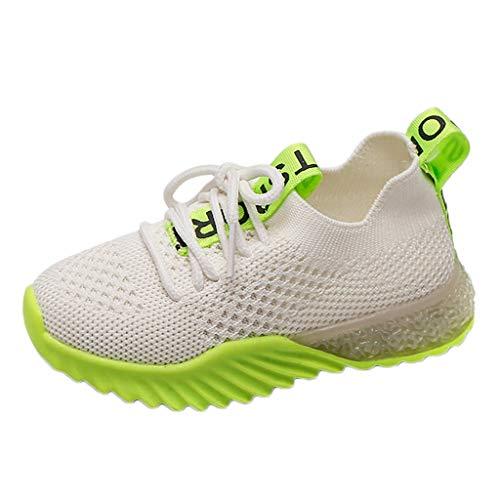 YWLINK Zapatos LED Luces NiñOs Y NiñAs Tela Malla Zapatos Casual Deportes Zapatillas Ligeros Fondo Blando Transpirable CóModo Corriendo Ciclismo CumpleañOs Regalo del DíA De Miembro(Verde,30EU)