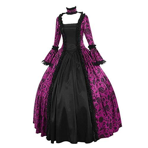 LEXUPE Frauen Herbst Winter Mittelalterliche Gotik Retro Blumendruck Ballkleider Kleider Kleid(B-Lila,XXXX-Large)