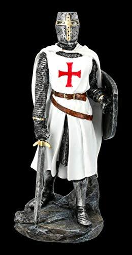 Weiße Tempelritter Figur mit Schild und Schwert | Templer, Deko-Figur, Deko-Artikel, Statue, Skulptur, Mittelalter-Figur, H 30 cm
