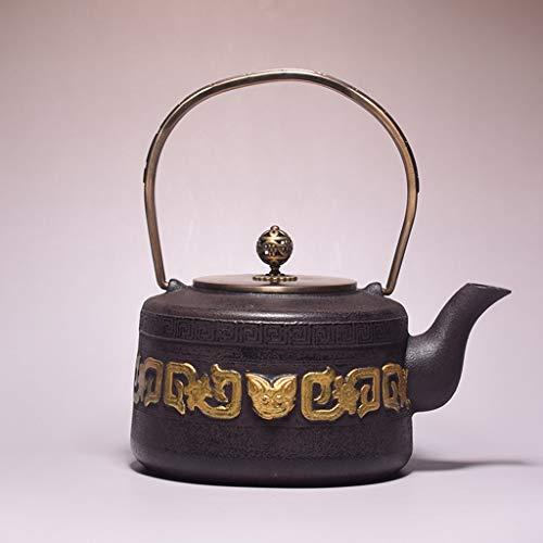 Tetera Teteras de hierro fundido tetera hecha a mano para té suelto calor té caliente hervidor de té único hervidor de casa sin recubrimiento hervidor de hierro fundido vintage ( Color : Tiger head )
