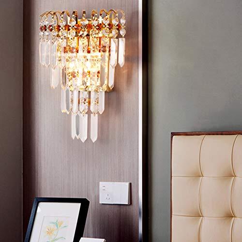 Lámpara de pared de cortina de cristal clásica de oro, lámpara de mesita de noche, lámpara de escritorio para sala de estar, dormitorio, mesita de noche, decoración de pared (sin bombilla)