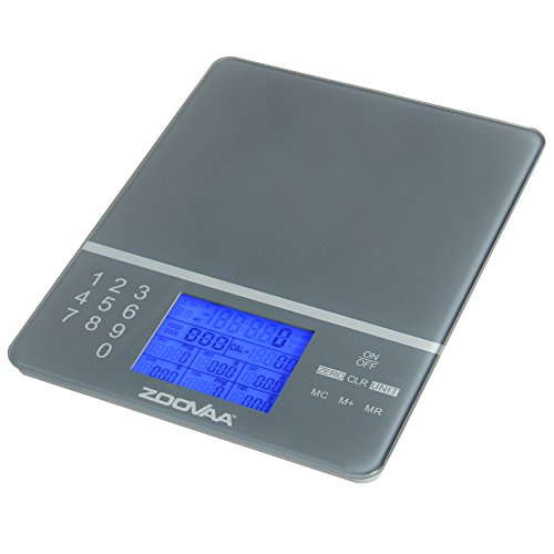 Digital Kitchen Food Scale for Nutrition Facts, Portion Control and Multifunction with close to 1000 food codes by ZooVaa - 10-KDS-001G