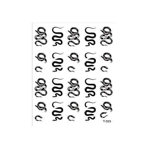 für Maniküre Bastelbasteln (N) Schwarze weiße Schlange Muster für Snake Design 3D Nagel Art Sticker Aufkleber für Nägel Aufkleber für Nageldekal(323)