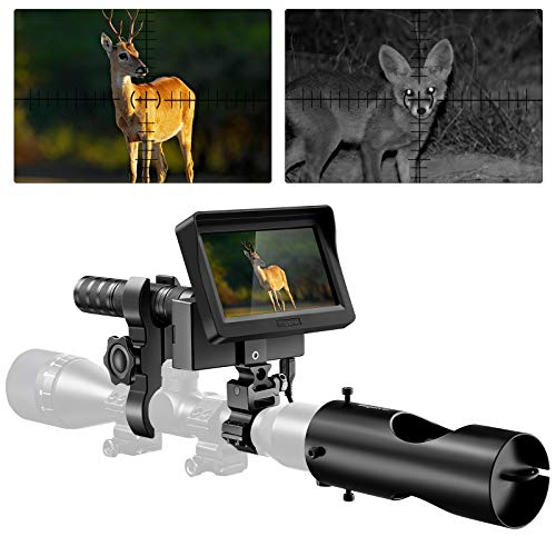 BOBLOV Night Vision Scope,3MP 16MM IR Optics Scope Monocular Camera for Riflescopes,32G & HD 720P Video/Photo Infrared Night Vision Hunting Rifle Scope with 4.3 inch HD Display