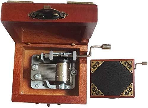 XWYYYH Música de la manivela 18 nota Caja de madera de la manivela de encaje antiguo Caja musical de madera con movimiento de plateado en, caja de regalo de música cubierta de cuero, caja de música de