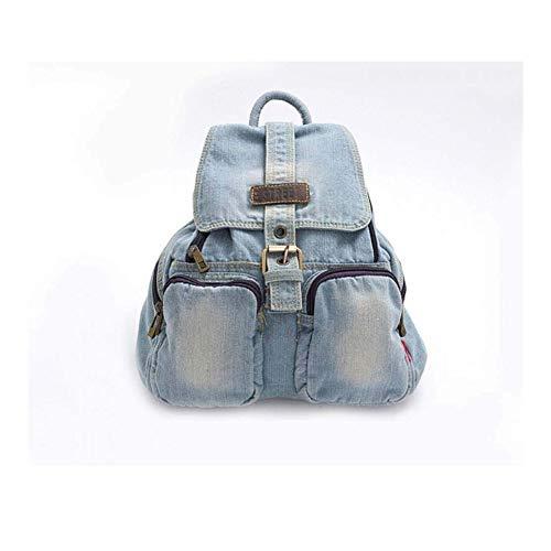Rucksack Blau Casual Denim Rucksack mit Bezügen Hochwertiger Damen-Tagesrucksack for Casual Jeans Reisetasche (Color : Light Blue)