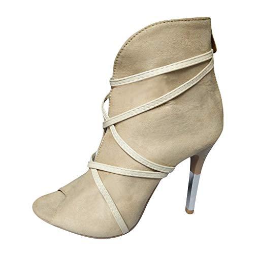 Stiefel Damen Stiletto Reißverschluss Peep-Toe Stiefeletten mit Bänder Einfarbiges High-top Pumps Mode Sexy Party Nightclub Bar Schuhe (34.5 EU, Beige)