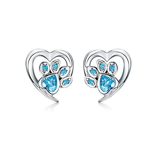 AdronQ 3 Farben Real 925 Sterling Silber Pfote Hund Footprint Ohrstecker Blau & Pink Ohrringe für Frauen Hochzeitsschmuck