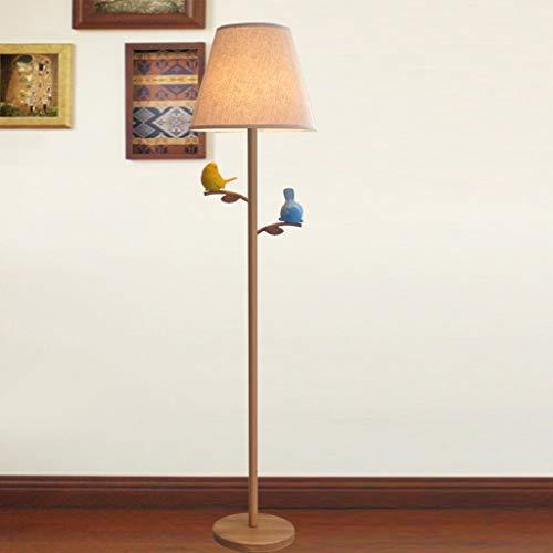 XIN Home staande lamp, staande led, houten licht, Nordic Moderne staande lamp, ijzeren doek, verlichting woonkamer slaapkamer studie verticale lamp creatieve vogel staande lamp oogbescherming verticale T