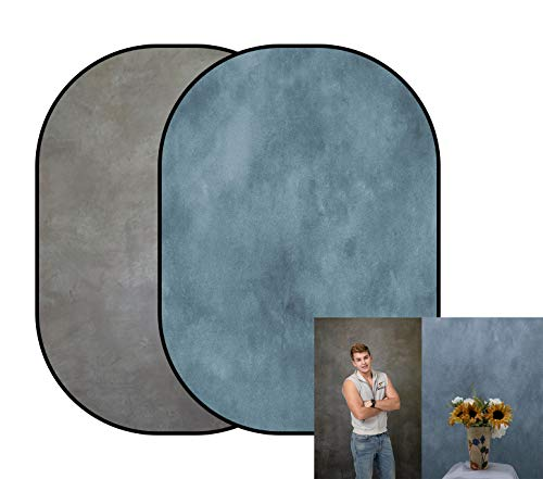 KateHome PHOTOSTUDIOS 150x200cm Fondo de fotografía de Retrato de Doble Cara Azul/Gris...