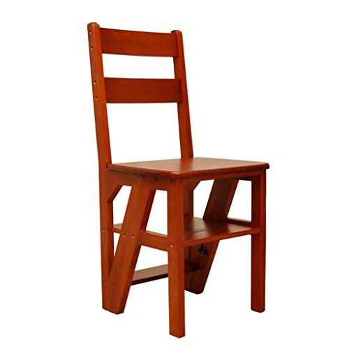 Tritthocker Klappstufen Hockerleiter Holz Dual-Use-Folding Massivholz-Hocker/Indoor Vier-Stufen-Leiter Stuhl/Multifunktions-Treppenhaus Hocker/Kiefer Mobile Step Stool (Farbe : A)