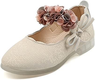 Padgene Girls Flower Mary Jane Dress Shoes Slip on Princess Ballet Flats Dance Shoes for Wedding Party School