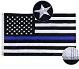 FRF 3×5ft Thin Blue Line Flag Embroidered Star American Police Flags White Blue Sewn Stripes Indoor Outdoor Banner with Strong Brass Grommets
