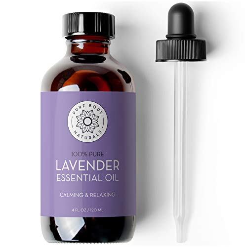 French Lavender Essential Oil Blend, 4 fl oz - 100% Pure, Independently Tested, Therapeutic Grade for Aromatherapy or Cosmetics with Glass Eye Dropper - by Pure Body Naturals