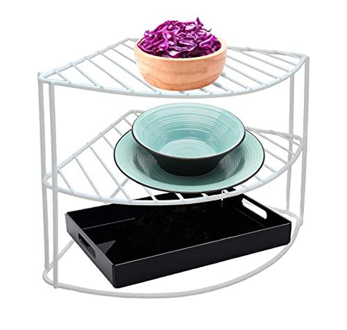 Homatz Corner Plate Rack Holder - 3 Tier Kitchen Cupboard Storage Unit - Plates Dinner Set and Corner Shelf Organiser - Dish Rack with White Coated Steel