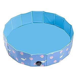 LYYP Piscina para niños, Piscina para Mascotas de PVC sin inflado, Plegable sin Fugas, bañera Redonda portátil para niños, Perros, Gatos, Estanque de Juguete para niños con prevención de resbalones