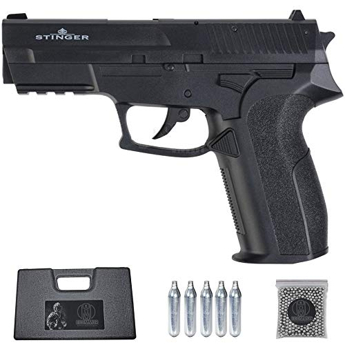 Ecommur. P2022 Stinger | Pistola de perdigones (Bolas BB's de Acero) de Aire comprimido semiautomática Tipo Sig Sauer SP2022 4,5mm + maletín + balines y CO2