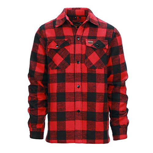 Longhorn Chemise de bûcheron Originale Canadienne (Noir/Rouge, L)