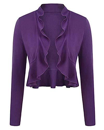 Donna Coprispalle Bolero Top Basic Elegante Comodo Aperto Leggero Viola XL