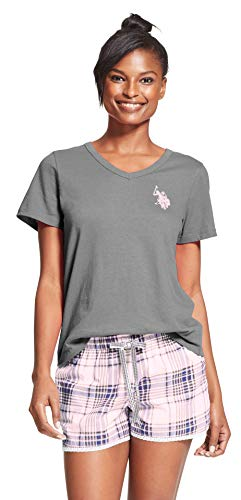 U.S. Polo Assn. Womens 2 Piece Cap Sleeve Shirt Elastic Waist Pajama Shorts Set Charcoal Heather Cloud Large
